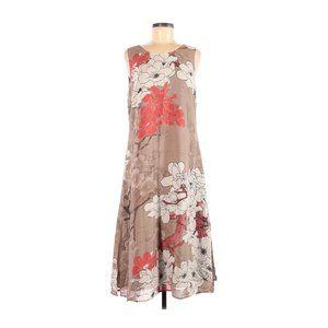 CITRON Floral Print Silk Sleeveless Midi Dress M